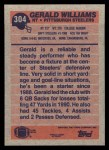1991 Topps #304  Gerald Williams  Back Thumbnail