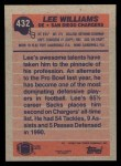 1991 Topps #432  Lee Williams  Back Thumbnail