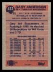 1991 Topps #482   -  Gary Anderson Record Breaker Back Thumbnail