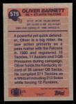1991 Topps #579  Oliver Barnett  Back Thumbnail