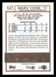 1992 Topps #645  Marv Cook  Back Thumbnail