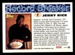 1993 Topps #2   -  Jerry Rice Record Breaker Back Thumbnail
