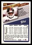 1993 Topps #316  Dave Meggett  Back Thumbnail