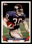 1993 Topps #316  Dave Meggett  Front Thumbnail