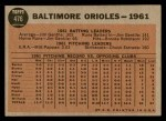 1962 Topps #476   Orioles Team Back Thumbnail