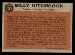 1962 Topps #121 GRN Billy Hitchcock  Back Thumbnail