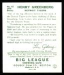 1934 Goudey Reprint #62  Hank Greenberg  Back Thumbnail