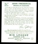 1934 Goudey Reprint #47  John Frederick  Back Thumbnail