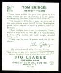 1934 Goudey Reprint #44  Tom Bridges  Back Thumbnail