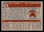 1957 Topps #116  Mike Fornieles  Back Thumbnail