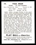 1939 Play Ball Reprint #19  Paul Dean  Back Thumbnail