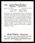 1939 Play Ball Reprint #155  Jimmy Outlaw  Back Thumbnail