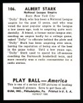1939 Play Ball Reprint #106  Dolly Stark  Back Thumbnail