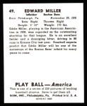 1939 Play Ball Reprint #49  Eddie Miller  Back Thumbnail