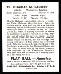 1939 Play Ball Reprint #93  Charles Gelbert  Back Thumbnail