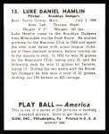 1939 Play Ball Reprint #13  Luke Hamlin  Back Thumbnail