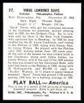 1939 Play Ball Reprint #37  Virgil Davis  Back Thumbnail