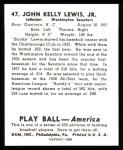 1939 Play Ball Reprint #47  Buddy Lewis  Back Thumbnail