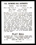 1940 Play Ball Reprint #155  Ray Hayworth  Back Thumbnail