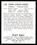 1940 Play Ball Reprint #108  Johnny Rizzo  Back Thumbnail