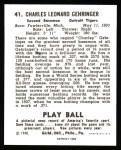 1940 Play Ball Reprint #41  Charlie Gehringer  Back Thumbnail