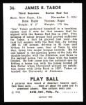 1940 Play Ball Reprint #36  Jim Tabor  Back Thumbnail