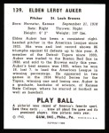 1940 Play Ball Reprint #139  Elden Auker  Back Thumbnail