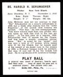 1940 Play Ball Reprint #85  Hal Schumacher  Back Thumbnail