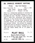 1941 Play Ball Reprint #20  Red Ruffing  Back Thumbnail