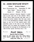 1941 Play Ball Reprint #55  Whitlow Wyatt  Back Thumbnail