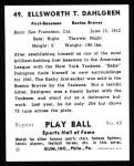 1941 Play Ball Reprint #49  Babe Dahlgren  Back Thumbnail