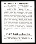 1939 Play Ball Reprint #74  Cookie Lavagetto  Back Thumbnail
