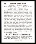 1939 Play Ball Reprint #76  Goody Rosen  Back Thumbnail