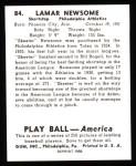 1939 Play Ball Reprint #84  Skeeter Newsom  Back Thumbnail