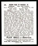 1939 Play Ball Reprint #26  Joe DiMaggio  Back Thumbnail