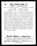 1939 Play Ball Reprint #40  James Bagby Jr.  Back Thumbnail