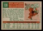 1959 Topps #128  Bob Hartman  Back Thumbnail