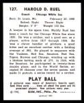 1940 Play Ball Reprint #127  Muddy Ruel  Back Thumbnail