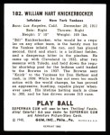 1940 Play Ball Reprint #182  Bill Knickerbocker  Back Thumbnail
