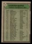 1979 Topps #659   Mariners Team Checklist Back Thumbnail