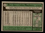 1979 Topps #380  John Mayberry  Back Thumbnail
