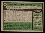 1979 Topps #596  Jim Wohlford  Back Thumbnail