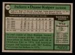 1979 Topps #146  Duane Kuiper  Back Thumbnail