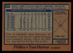 1978 Topps #568  Tom Hutton  Back Thumbnail