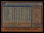 1978 Topps #521  Steve Staggs  Back Thumbnail