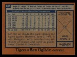 1978 Topps #286  Ben Oglivie  Back Thumbnail