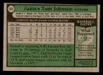 1979 Topps #162  Tom Johnson  Back Thumbnail
