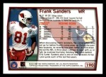 1999 Topps #190  Frank Sanders  Back Thumbnail
