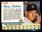 1962 Post #92  Norm Siebern   Front Thumbnail