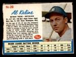 1962 Post #20  Al Kaline   Front Thumbnail